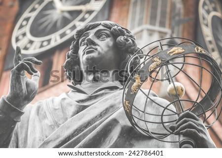 Monument of great astronomer Nicolaus Copernicus, Torun, Poland - stock photo