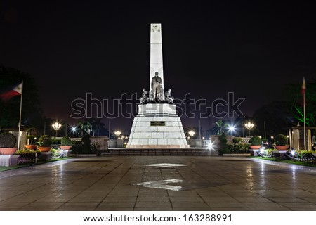 Monument of Jose Rizal - Filipino nationalist, writer and revolutionary - stock photo