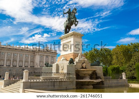 Monument of Philip IV of Spain in Plaza de Oriente in Madrid, Spain - stock photo