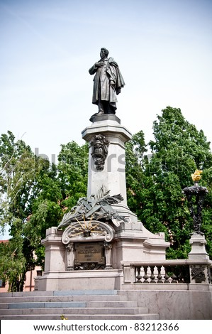 monument of poet Adam Mickiewicz in Warsaw, Poland