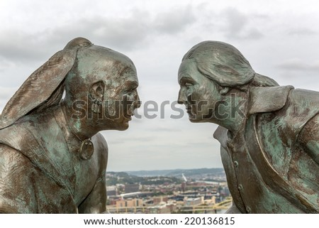 Monument of Seneca leader Guyasuta and George Washington called Point of View on Mt. Washington overlooking the three rivers in the city of Pittsburgh which is referred to as The Point. - stock photo