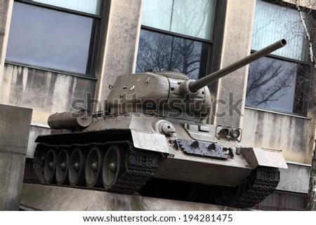 Monument of soviet tank at an outdoor museum - stock photo