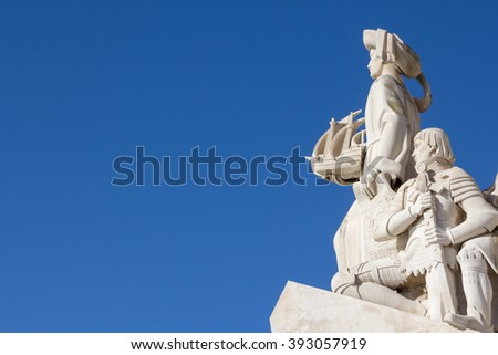 Monument of the Discoveries, Lisbon, Portugal. Monument built for the portuguese world exhibition of 1940, as a memory to the discoveries made by Portugal and Vasco da Gama - stock photo