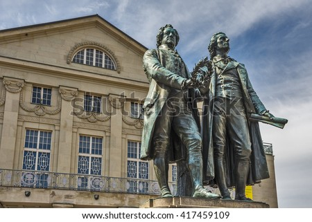 Monument of the famous german writers Goethe and Schiller in Weimar, Germany - stock photo