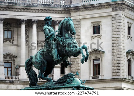 Monument of the Prinz Eugen on Heldenplatz in Hofburg near to the Austrian national library. Vienna, Austria - stock photo