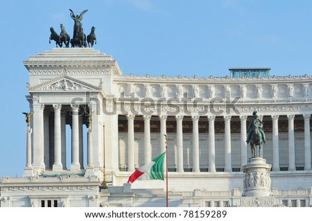 Monument of the Vittorio Emanuele II (The king Victor Emmanuel ) and the Tomb of the Unknown Soldier withe the goddess Victoria riding on quadrigas on the summit in Rome, Italy