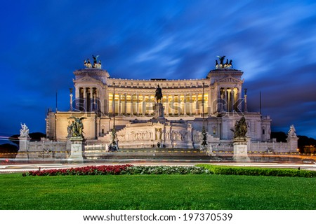 Monument of Victor Emmanuel in Rome Italy - stock photo