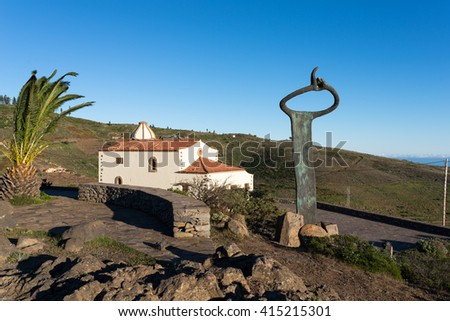 Monument of whistling language at the overlook Mirador de Igualero and the church Iglesia de San Francisco in the highland of La Gomera, Canary archipelago. Situated in the municipality of Chipude - stock photo