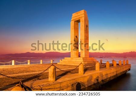 Monument on the Lungomare at sunset, Reggio Calabria, Italy - stock photo