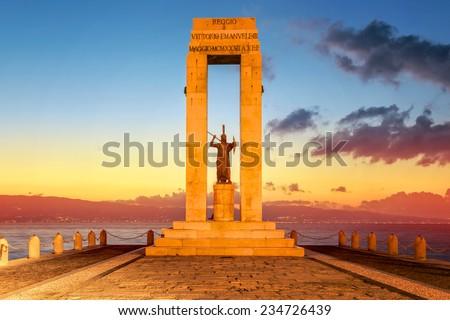 Monument on the Lungomare, Reggio Calabria, Italy - stock photo