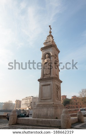 Monument on the Tiber Island of Rome, ITaly