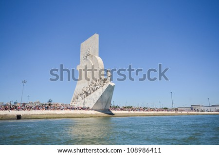 "Monument ""Padrao dos Descobrimentos"" in Lisbon, Portugal from the river. This 52 metre-high monument was built for the World Fair in 1940. - stock photo"