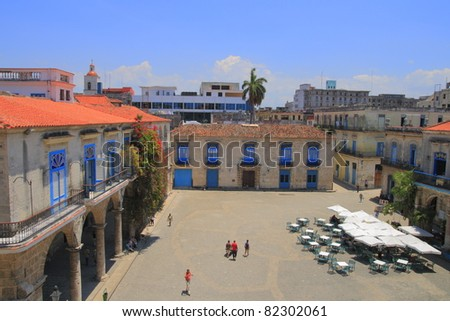 Monument Plaza de la Catedral in Havana Vieja - stock photo