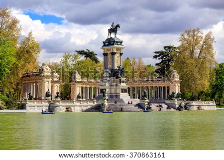 "Monument to Alfonso XII in the Parque del Buen Retiro ""Park of the Pleasant Retreat"" in Madrid, Spain"