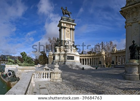 Monument to King Alfonso XII - stock photo