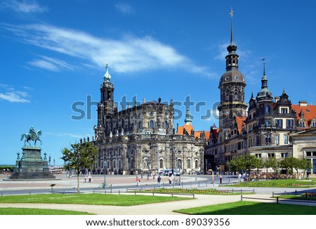 Monument to King John of Saxony, Catholic Church and Dresden Castle, Dresden, Germany - stock photo