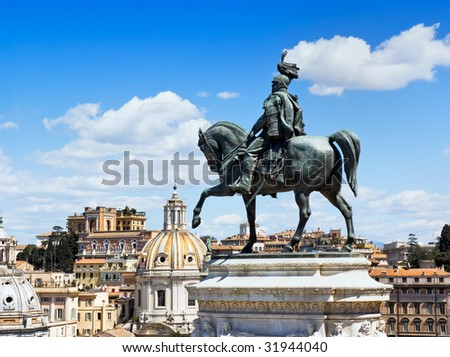 Monument to king Victor Immanuel II, who has united Italy, in Rome, Italy - stock photo
