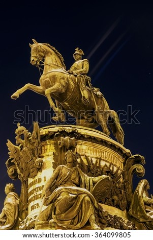 Monument to Nicholas I in 1859, is set on St. Isaac's Square in St. Petersburg - stock photo