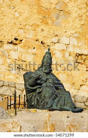 Monument to Papa Luna, outside of Peniscola Castle, in Valencia, Spain - stock photo