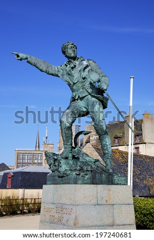 Monument to Robert Surcouf. Saint-Malo, France - stock photo