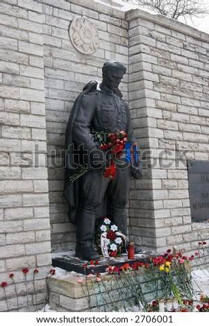 Monument to Soviet soldier in Tallinn. Estonia - stock photo