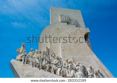 Monument to the Discoveries at Belem Lisbon Portugal - stock photo