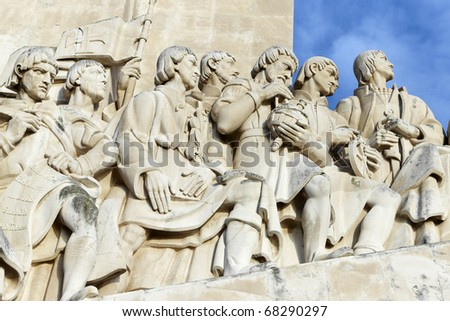 Monument to the Discoveries, Belem: district of Lisbon, Portugal, Europe - stock photo