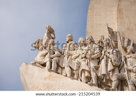 Monument to the Discoveries in Lisbon (Portugal). The monument celebrates the Portuguese Age of Discovery (or Age of Exploration) during the 15th and 16th centuries. - stock photo
