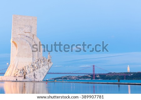 Monument to the discoveries Lisbon Portugal - stock photo