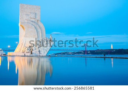 monument to the discoveries Lisbon Portugal at dusk - stock photo