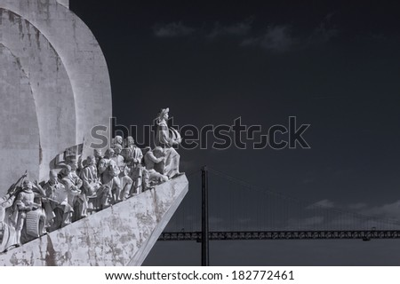 Monument to the discoveries, Lisbon, Portugal. Used infrared filter. - stock photo