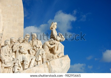 Monument to the Discoveries located in the Belem district of Lisbon, Portugal - stock photo