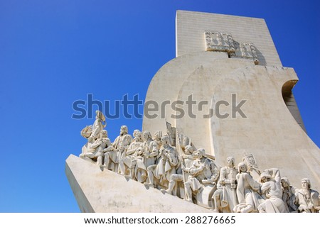 Monument to the Discoveries (Padrao dos Descobrimentos) over Tagus River in Belem quarter of  Lisbon (Portugal). - stock photo