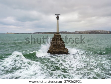 Monument to the Scuttled Ships. Sevastopol bay of the Black Sea. Republic of Crimea - stock photo