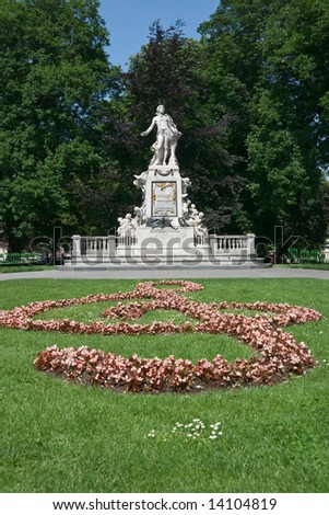 Monument to Wolfgang Amadeus Mozart in Burggarten garden, Vienna, Austria. Memorial was created by sculptor Viktor Tilgner in 1896 and now is in public domain. - stock photo