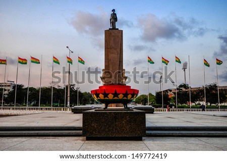 Monument & Tomb For Unknown Soldier. A part of Independence Square, Accra, Ghana. - stock photo