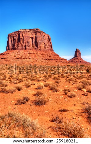 Monument Valley Arizona with deep blue sky - stock photo
