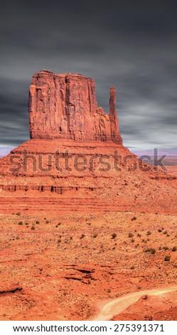 Monument Valley Arizona with evening dark skies - stock photo