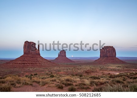 Monument Valley at dusk.