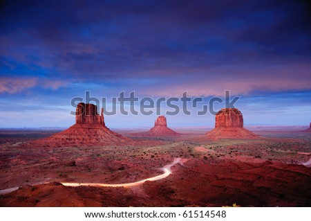 Monument Valley at dusk after sunset, Utah, USA - stock photo