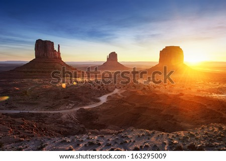 Monument Valley at sunrise - stock photo