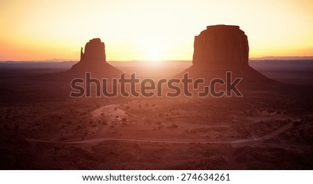Monument Valley at Sunset in Utah - stock photo