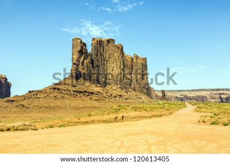 Monument Valley, beautiful sandstone rock Camel Butte - stock photo