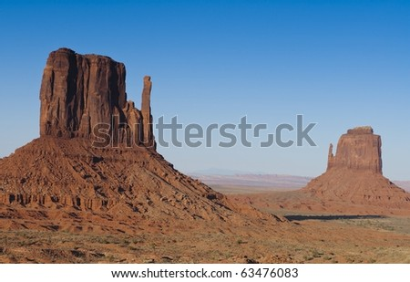 Monument valley buttes with a clear blue sky