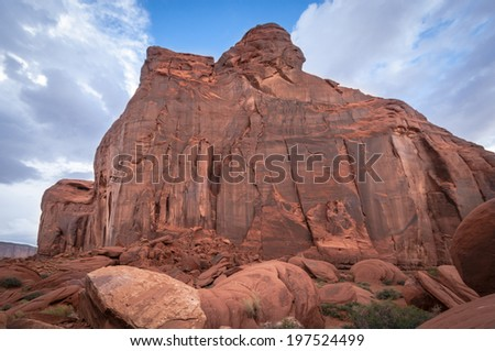 Monument Valley chieftain. Sandstone formation in Monument Valley which looks for the navajos like a chieftain.