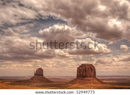Monument Valley Clouds and Buttes - stock photo