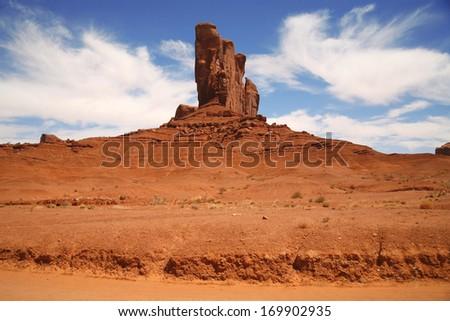 Monument Valley, desert canyon in Utah, USA - stock photo