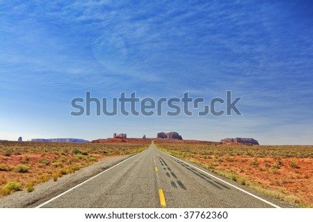 monument valley in utah, interstate 163, usa - stock photo