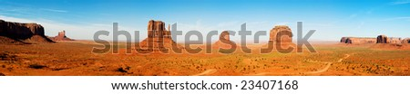 Monument Valley in Utah, Panoramic composition. - stock photo