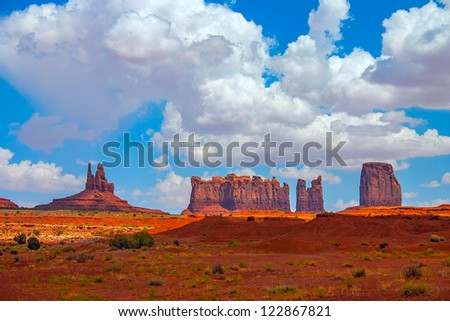 Monument Valley landscape with clouds - stock photo